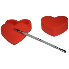 Heart Dab Container with Wax Tool