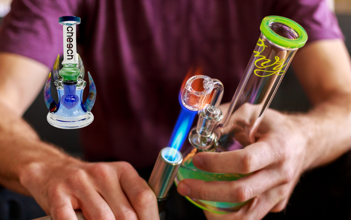 Dab bong being held in hand with product picture of dab bomng