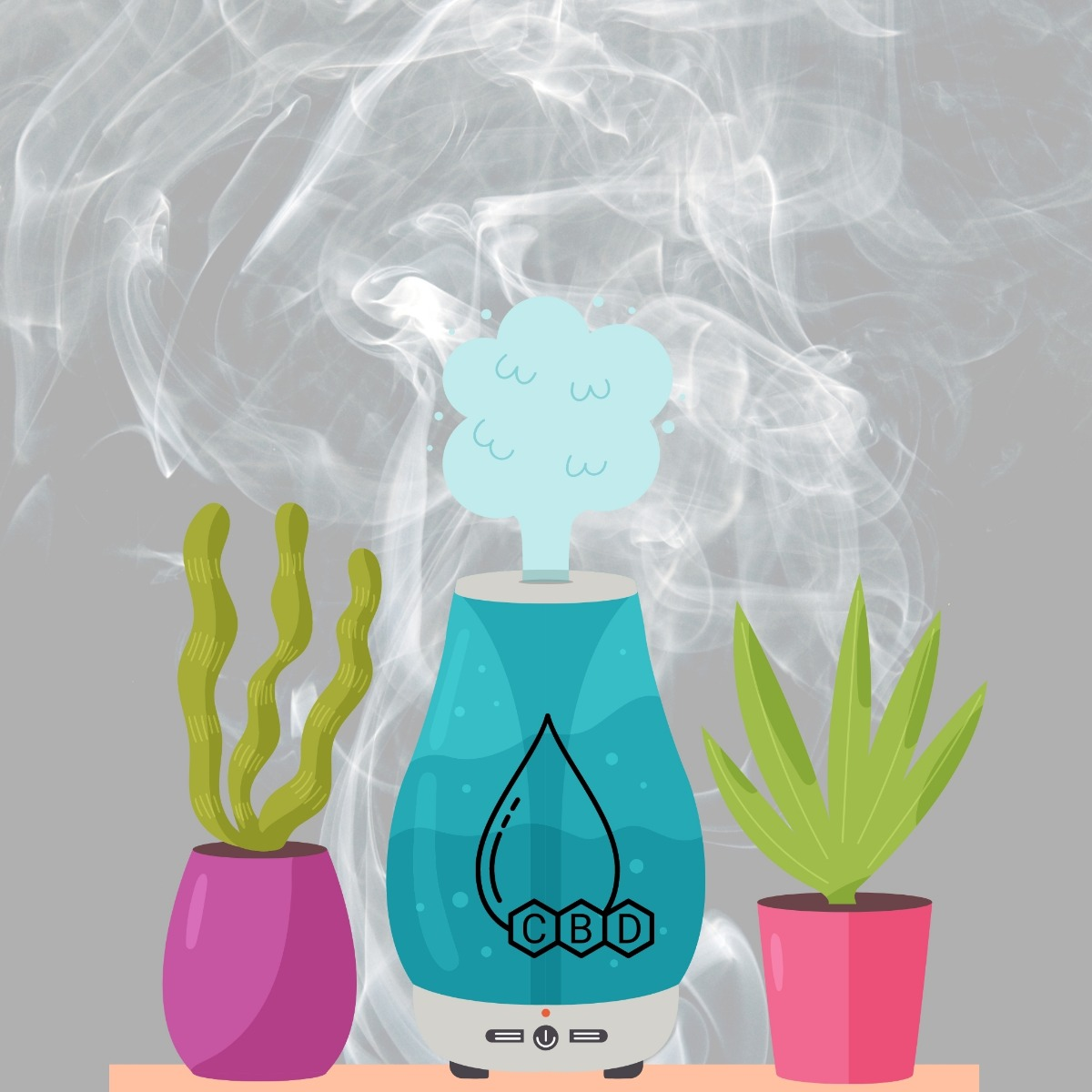 CBD labeled blue air diffuser with smoke behind it