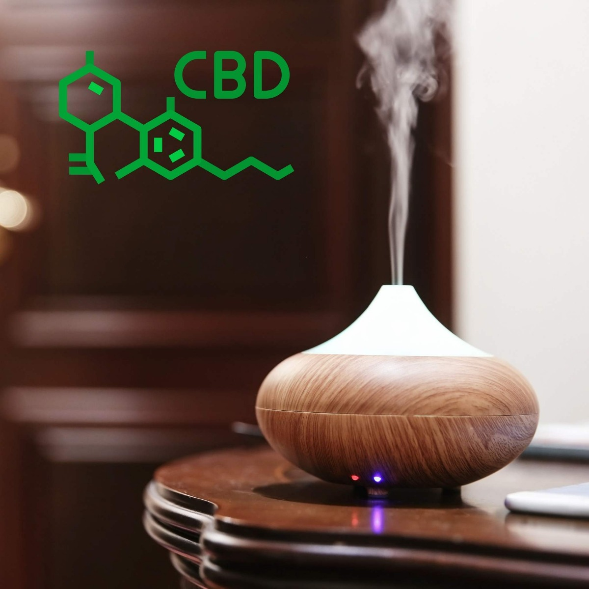 Linalool oils in the room out of a wooden air diffuser