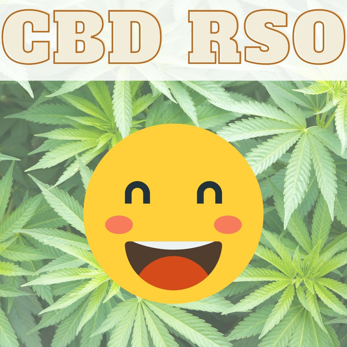 CBD RSO title with a cbd plant and smiley face in the background
