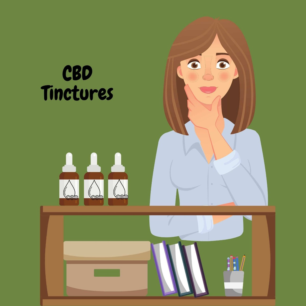 CBD Tincture bottles on a desk with a woman thinking about if cbd is for her