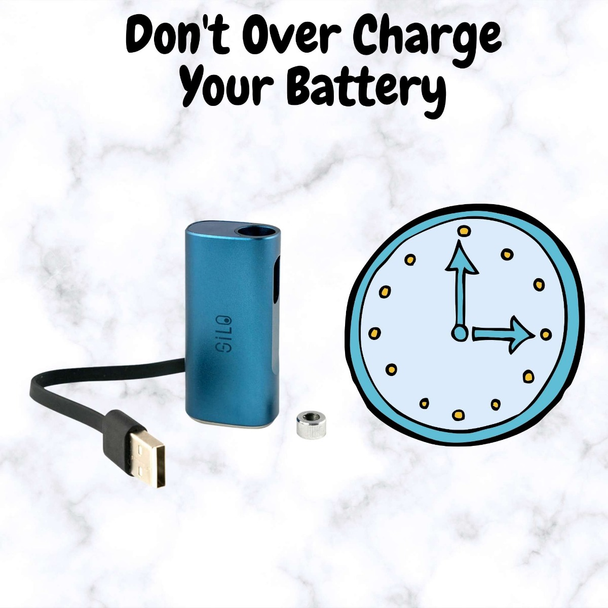 vape battery with charge and clock next to it with text saying Don't Over Charge Your Battery