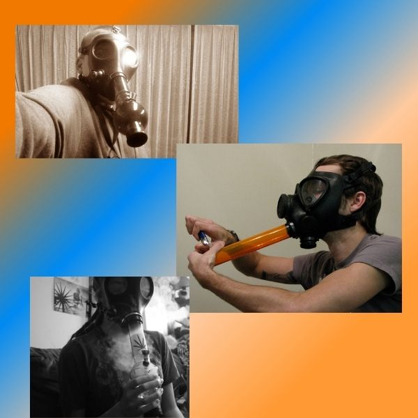 Gas mask being worn at home by yourself