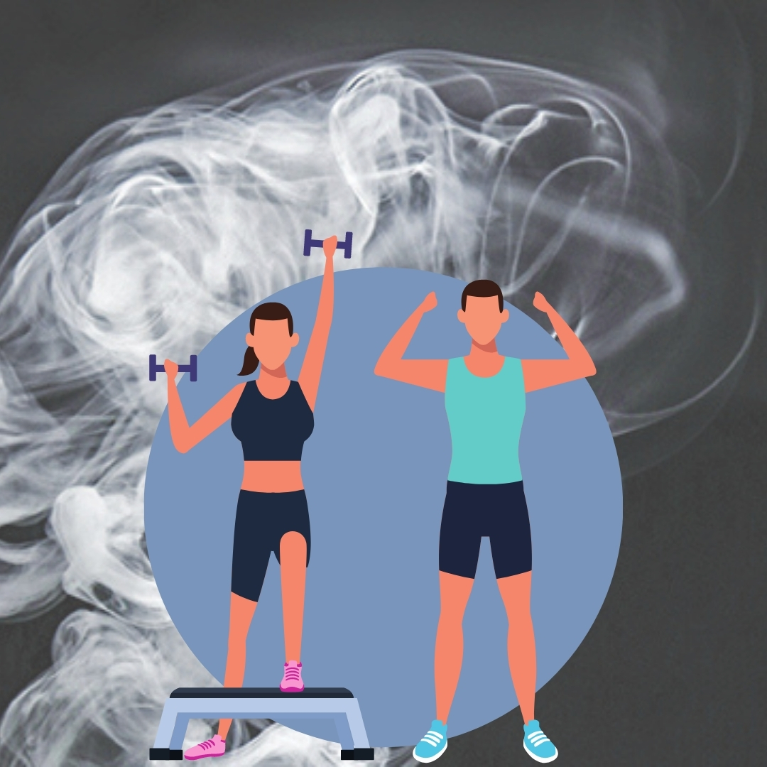 a couple working out with smoke in the background