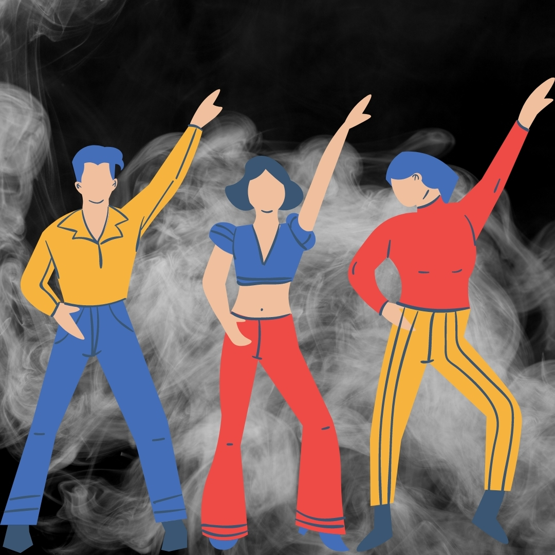 animation of three people dancing with smoke in the background