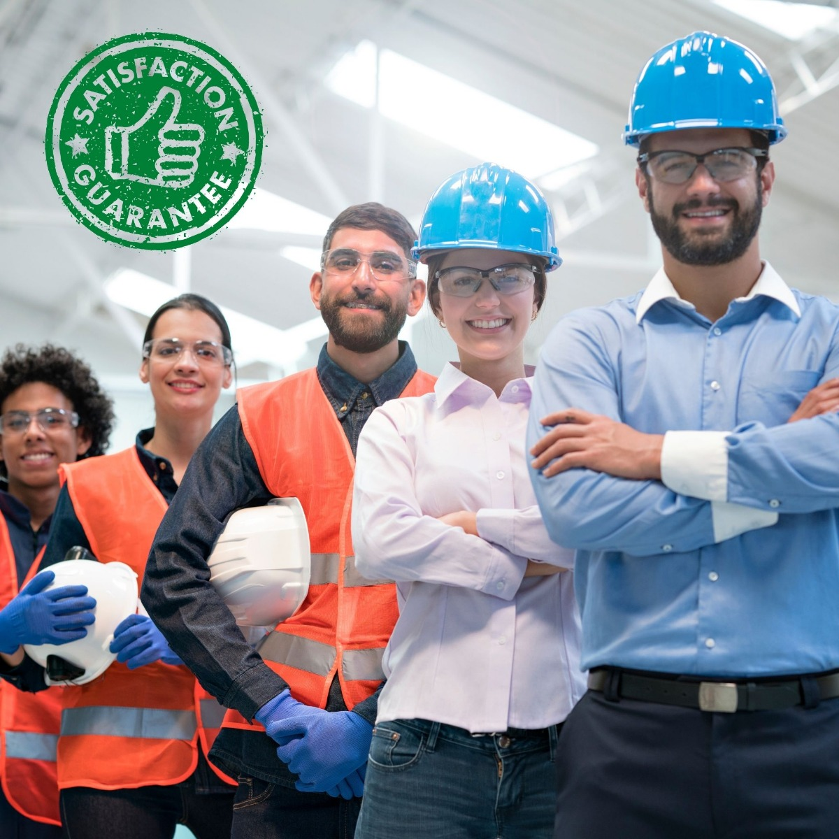 Factory workers with hard hats on showing they can provide satisfaction