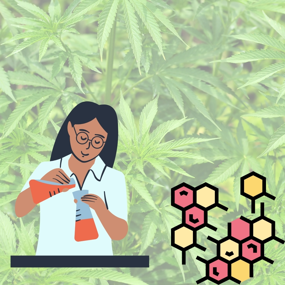 Woman mixing thc chemicals with thc background