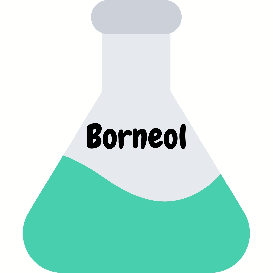 A beaker with Borneol chemicals in it with a white background