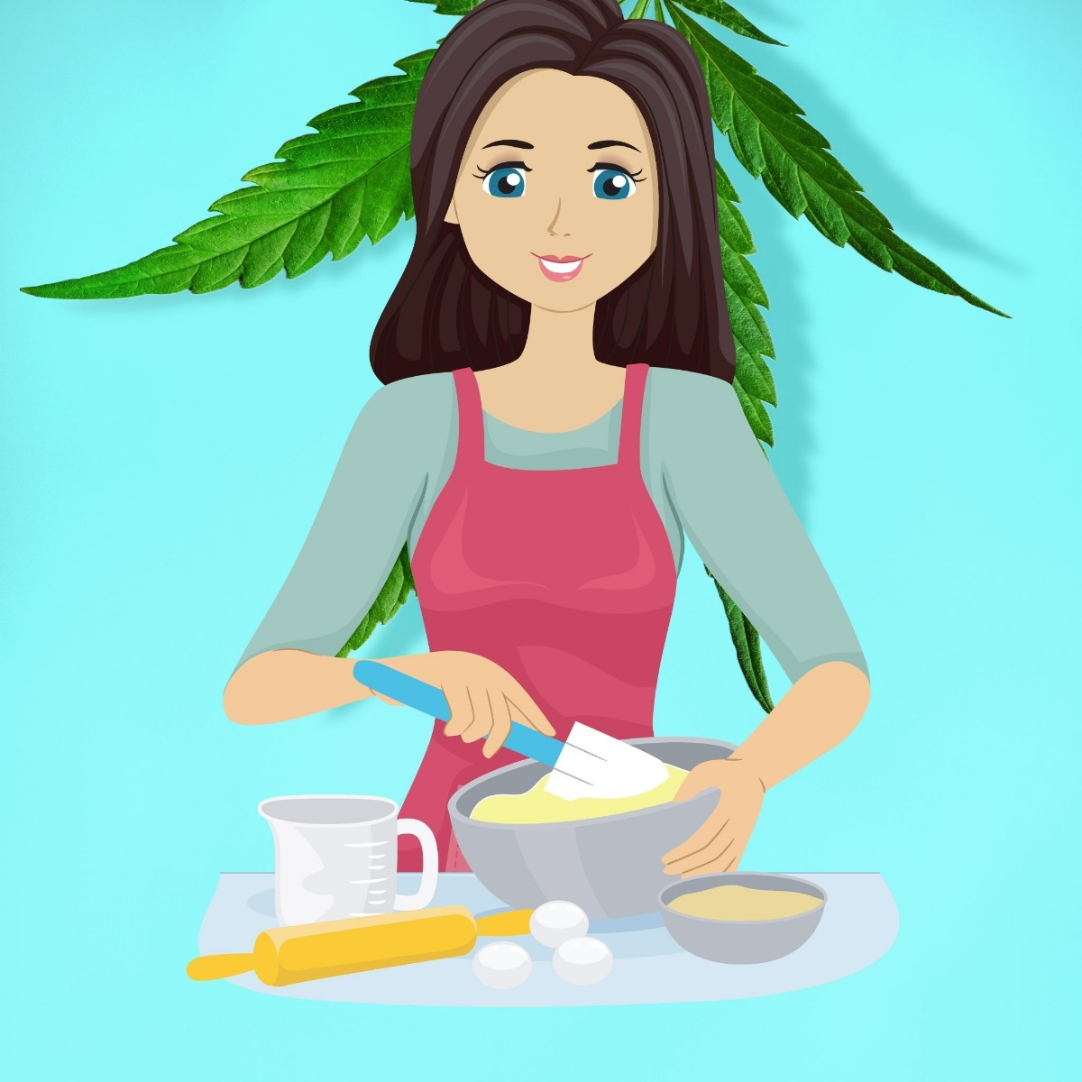 CBD being baked in the kitchen by a woman