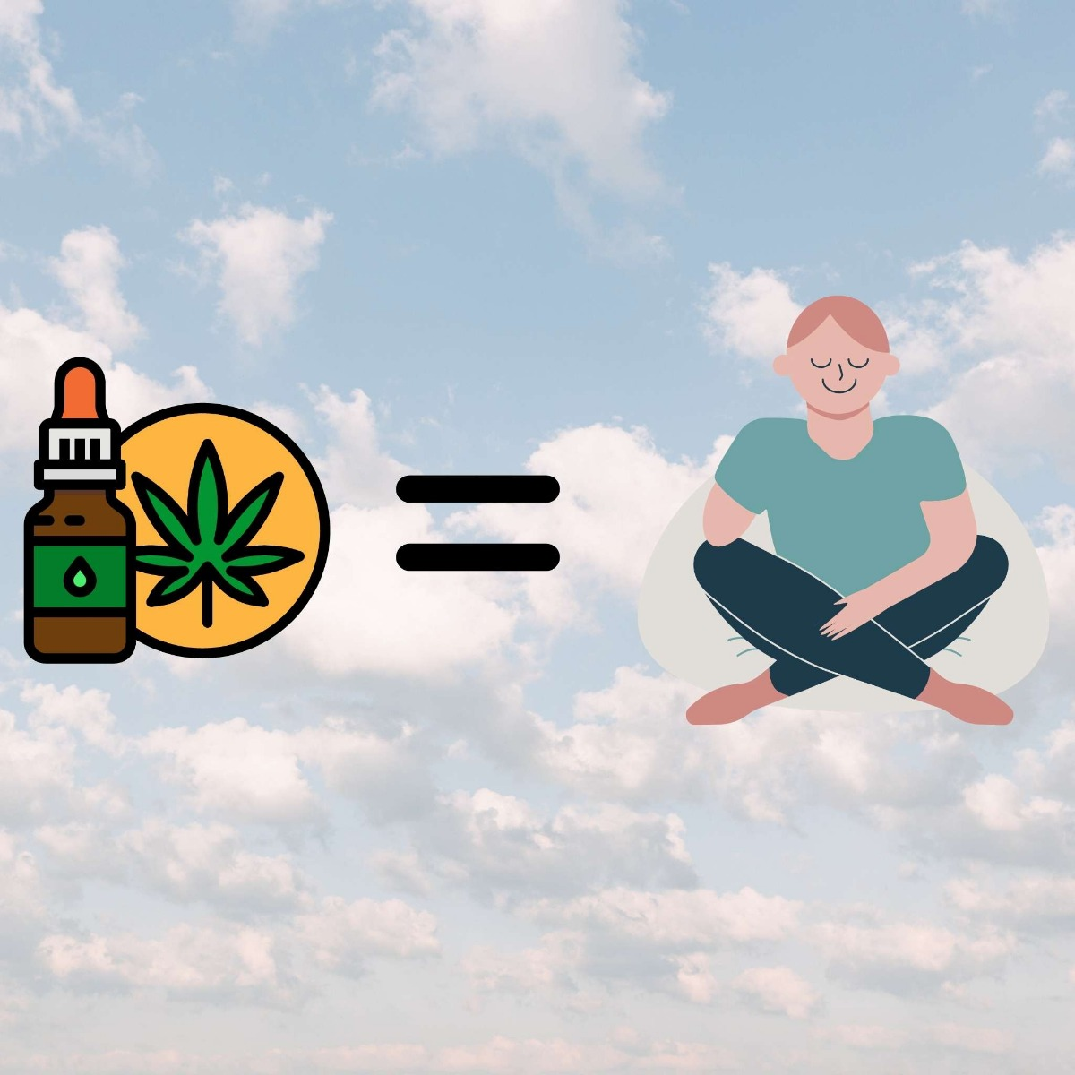 CBD bottle with equal sign then man relaxing with clouds in the background