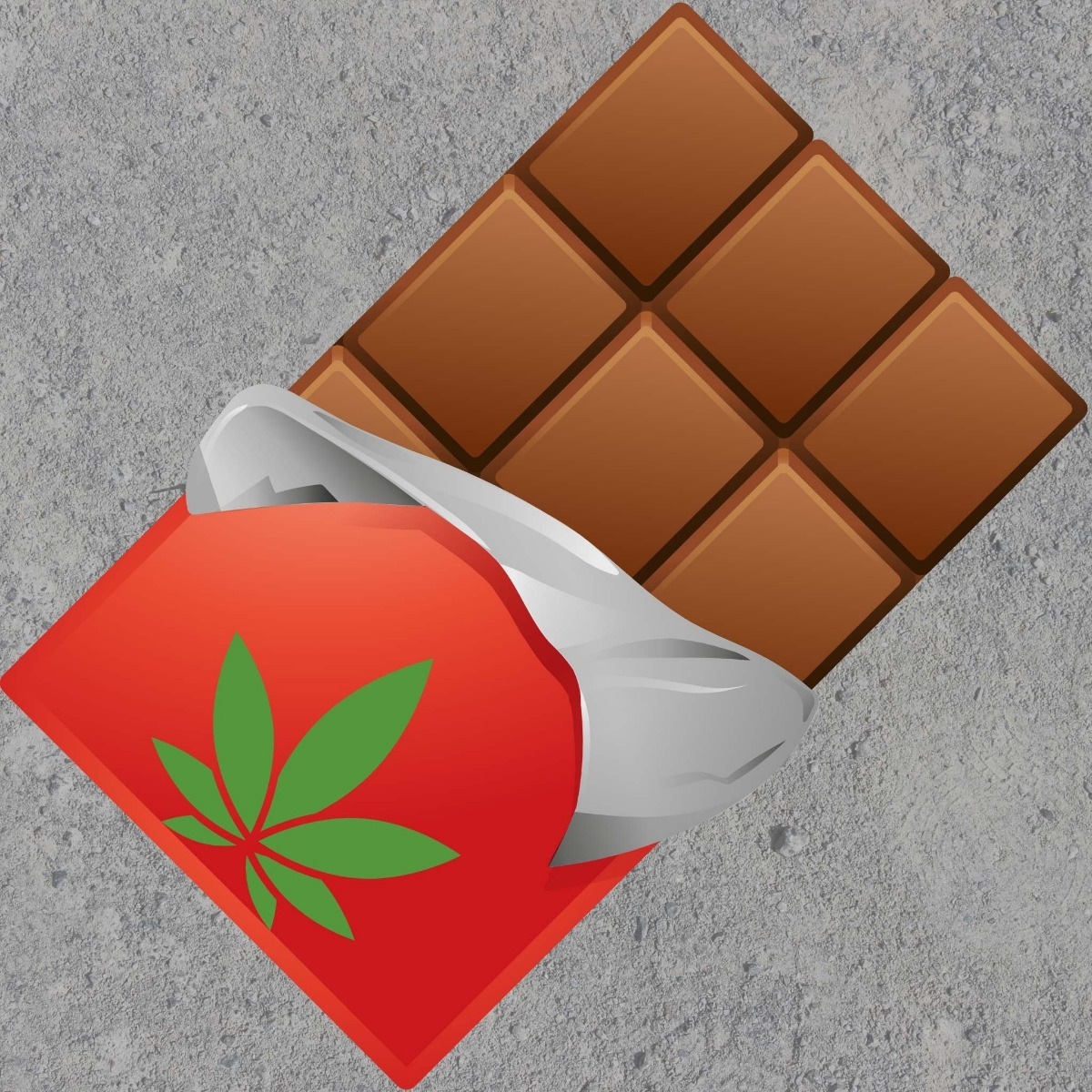 cbd chocolate bar red wrapper grey background