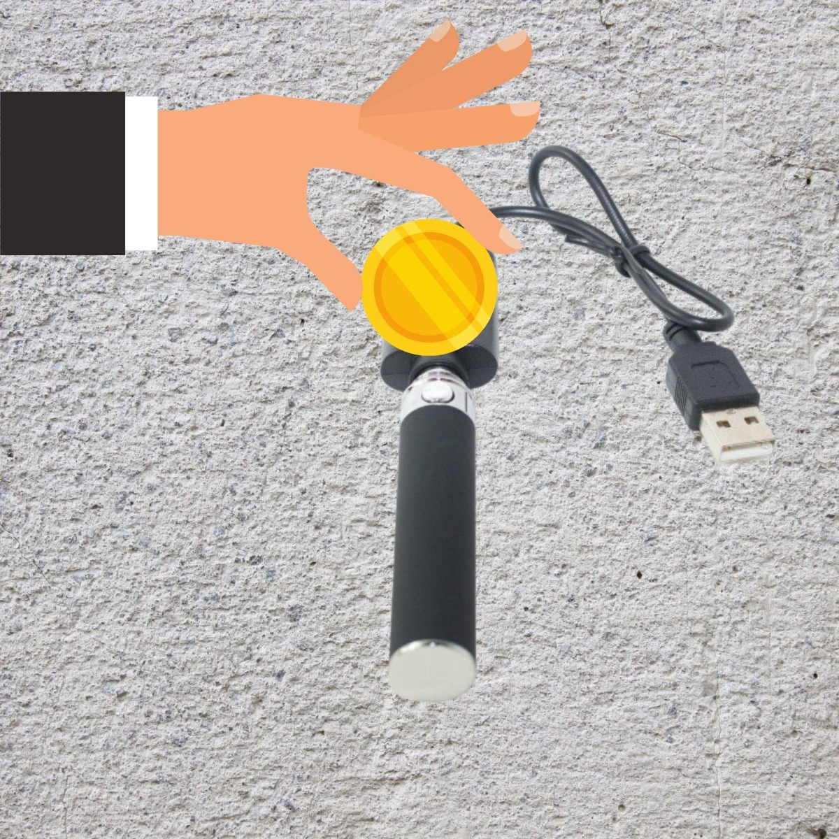 coin being placed onto a vaporizer with grey background