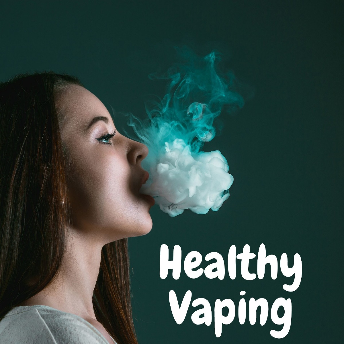 woman blowing a puff of smoke with text saying healthy living