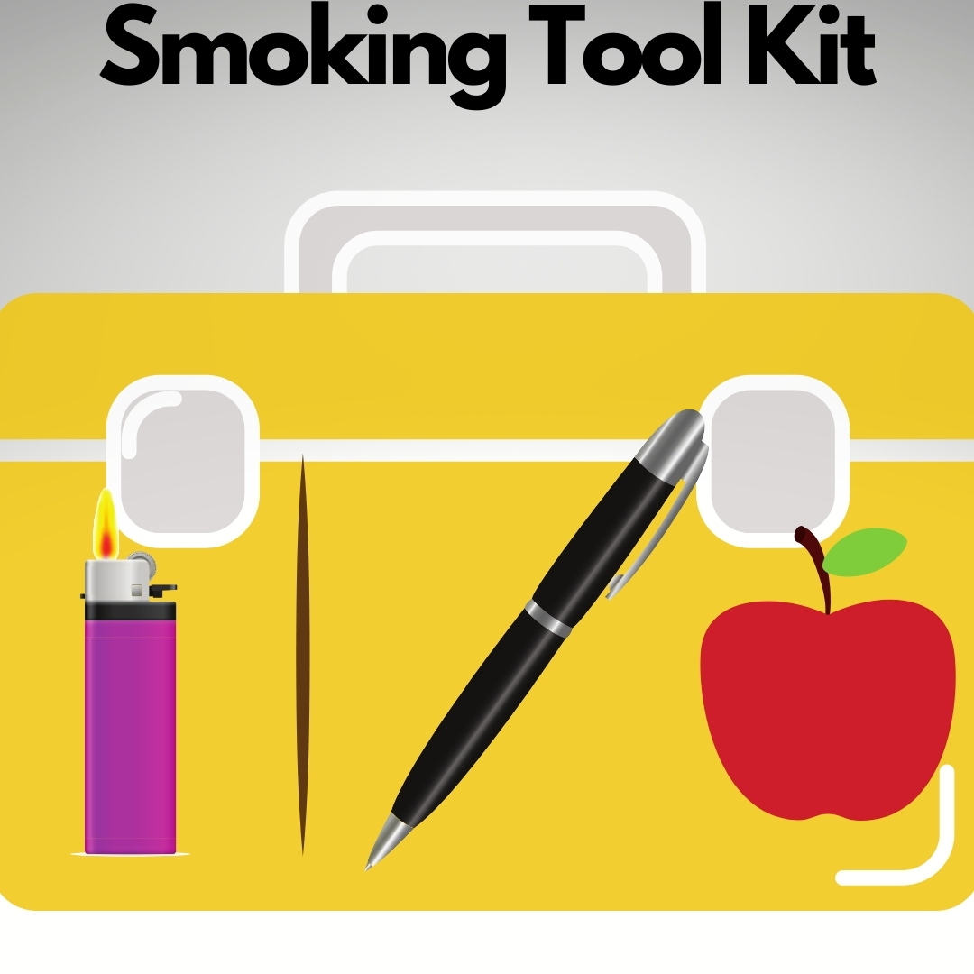 Tool box with a lighter, tooth pick and apple in grey background