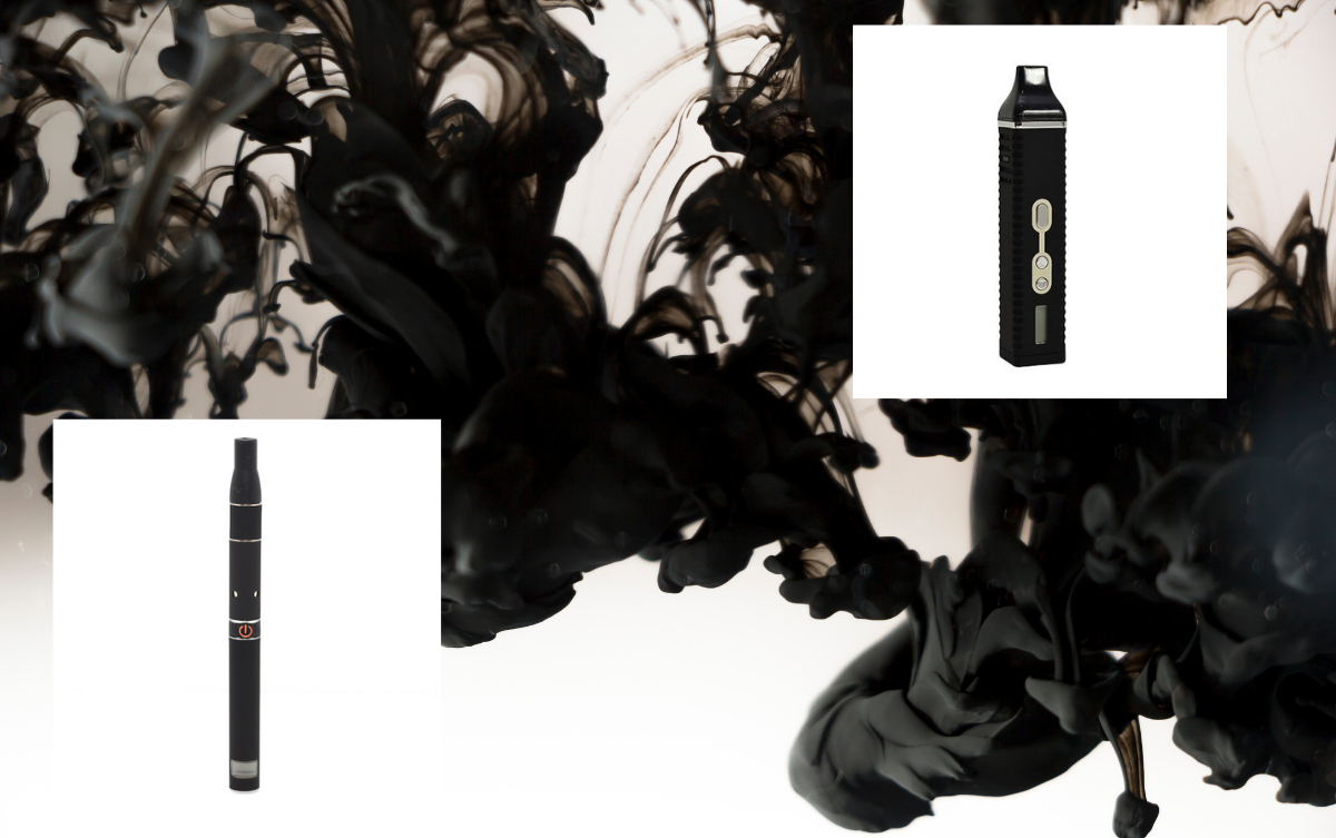 Two black vapes with smoke background