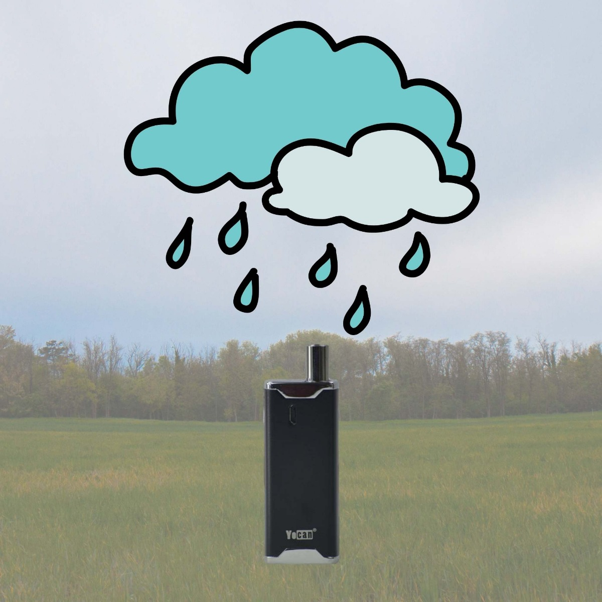 Vaporizer left outside and an animation of rain coming down