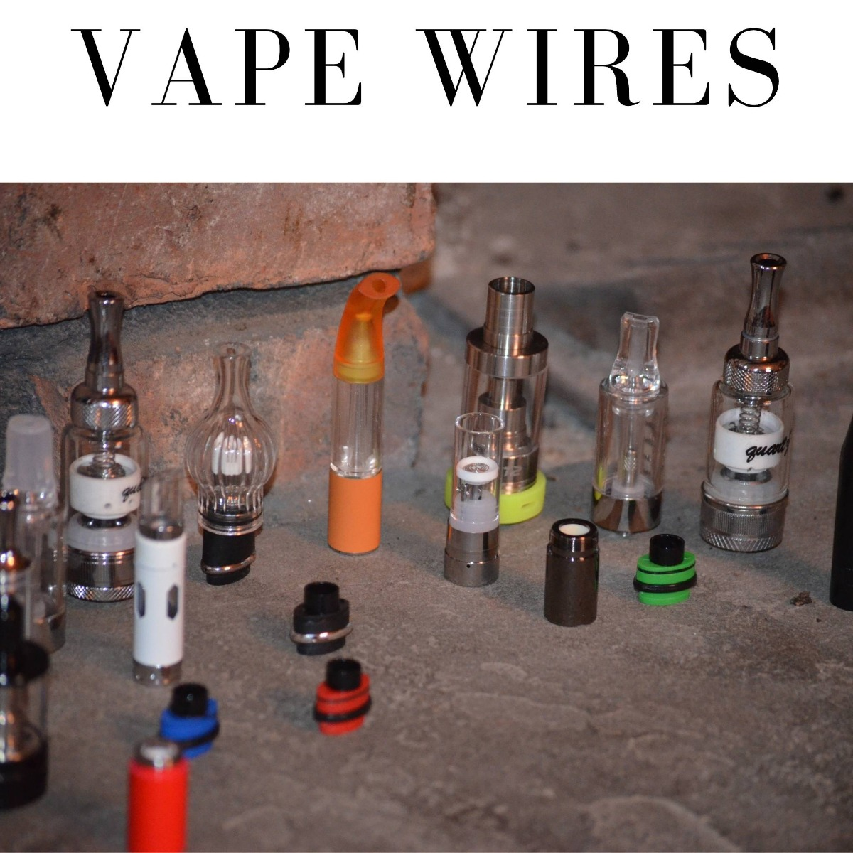 Multiple vape coils on a desk with a title of vape wires