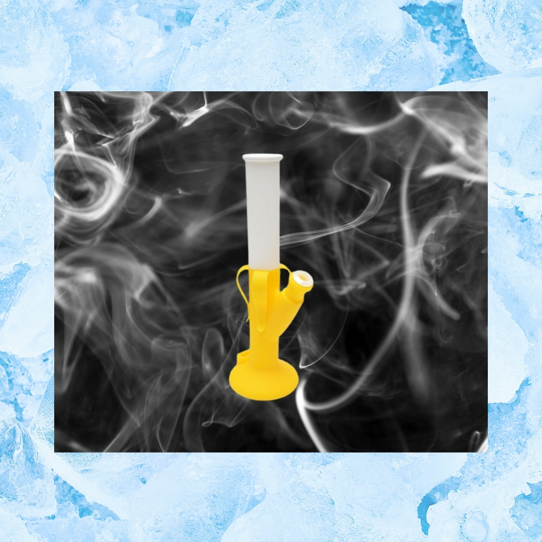 yellow and white silicone bong with ice background